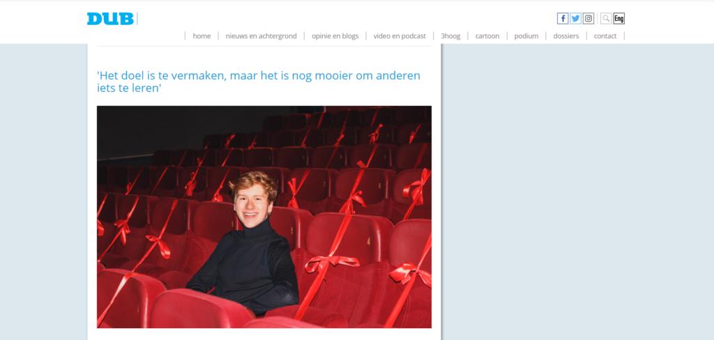 Acteur Maurits van Brakel in de media - screenshot van een websiteartikel